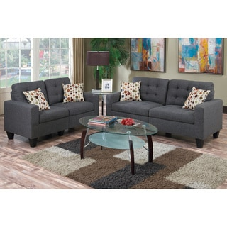 Bobkona Windsor Linen-Like Poly Fabric 2 Piece Sofa and Loveseat Set