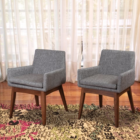 Ruby Mid-Century 2 Piece Living Room Dining Armchair Set, Coral Textile