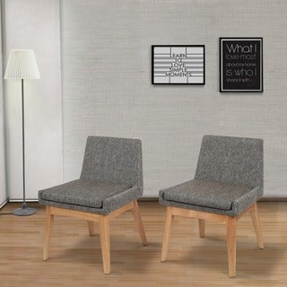 Ruby Mid-Century 2 Piece Living Room Dining Chair Set, Coral Textile Light
