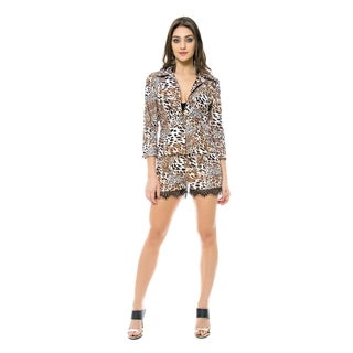 Sara Boo Animal Print Lace Trim Shorts