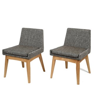 Ruby Mid-Century 2 Piece Living Room Dining Chair Set, Coral Textile Dark - Grey/Brown