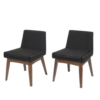 Ruby Mid-Century 2 Piece Living Room Dining Chair Set, Liqurice Textile Dark