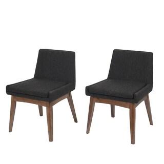 Ruby Mid-Century 2 Piece Living Room Dining Chair Set, Liqurice Textile Dark