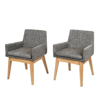 Ruby Mid-Century 2 Piece Living Room Dining Armchair Set, Coral Textile Light