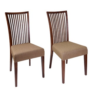 Cynthia Mid-Century 2 Piece Living Room Dining Chair Set, Latte Textile