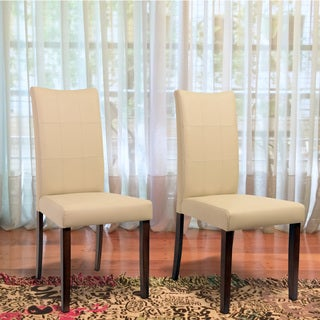 Tatiana Mid-Century 2 Piece Living Room Dining Chair Set, Cream Leather