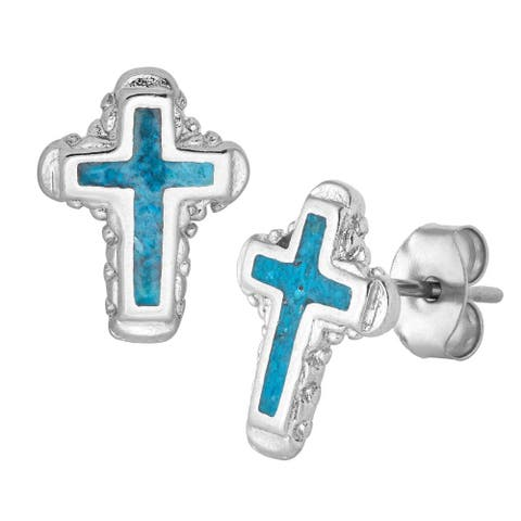 Southwest Moon Silvertone Turquoise Inlay Ornate Cross Stud Earrings - Silver