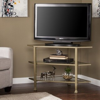 Porch & Den RiNo Brighton Matte Khaki Metal/ Glass Corner TV Stand
