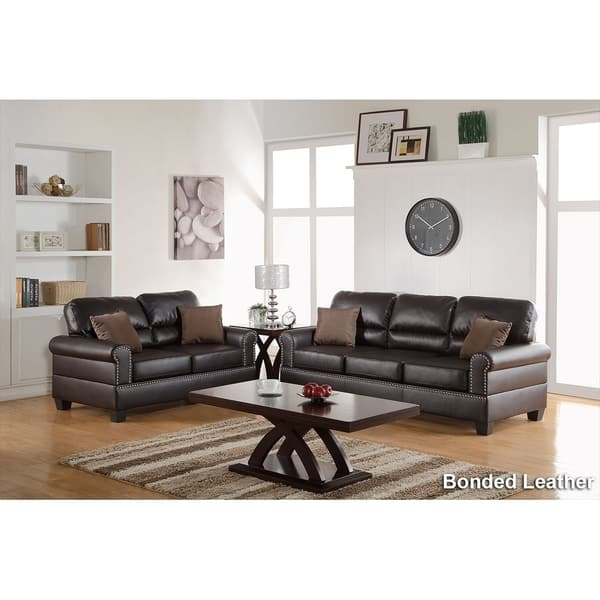 Admirable Shop Bobkona Shelton Leather 2 Piece Sofa And Loveseat Set Gmtry Best Dining Table And Chair Ideas Images Gmtryco