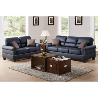Bobkona Shelton Leather 2-piece Sofa and Loveseat Set (2 options available)