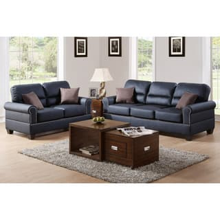 Bobkona Shelton Leather 2 piece Sofa and Loveseat Set Black Living Room Furniture Sets For Less  Overstock com