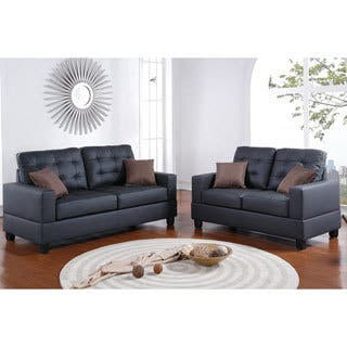 black living room furniture set. Bobkona Aria 2 Piece Sofa and Loveseat Set Black Living Room Furniture Sets For Less  Overstock com