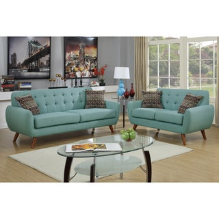 Bobkona Sonya Linen-Like 2 Piece Sofa and Loveseat Set