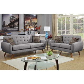 Bobkona Sonya Linen-Like 2 Piece Sofa and Loveseat Set (3 options available)