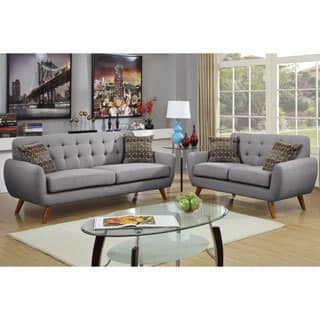 Bobkona Sonya Linen Like 2 Piece Sofa and Loveseat Set Black Living Room Furniture Sets For Less  Overstock com