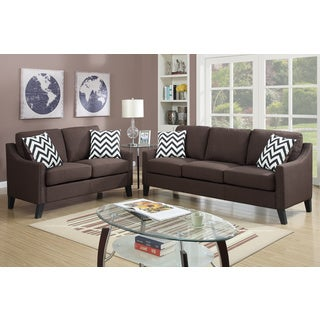 Bobkona Debora Linen-Like 2 Piece Sofa and Loveseat Set
