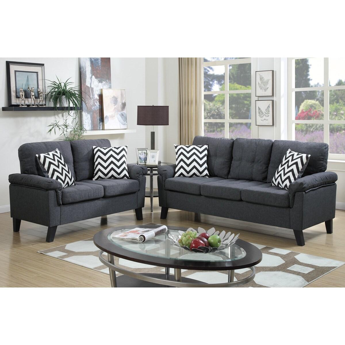 Bobkona Tyler Linen Like 2 Piece Sofa And Loveseat Set (2 Options Available)