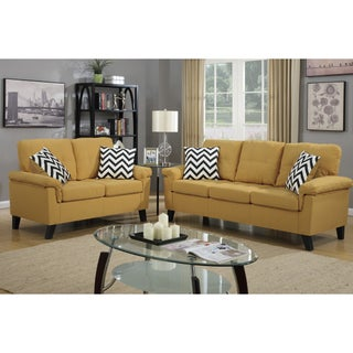 Bobkona Tyler Linen-Like 2 Piece Sofa and Loveseat Set (Option: Yellow)
