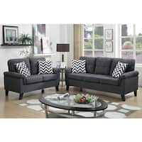 Bobkona Tyler Linen-Like 2 Piece Sofa and Loveseat Set