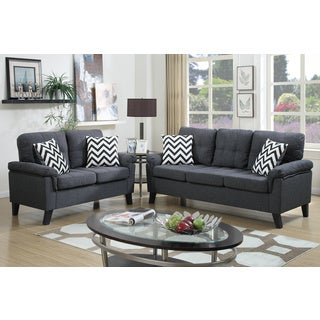 Bobkona Tyler Linen-Like 2 Piece Sofa and Loveseat Set (2 options available)