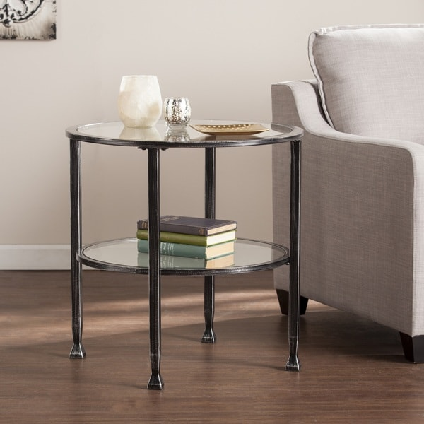 Elegant Harper Blvd Jensen Metal/Glass Round End Table   Black