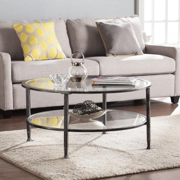 Black Glass Round Coffee Table: Harper Blvd Jensen Metal/Glass Round Cocktail Table
