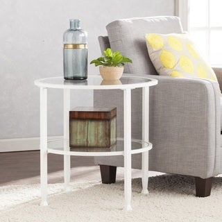 The Gray Barn Sawyer White Metal/Glass Round End Table