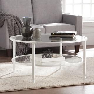Harper Blvd Jensen Metal/Glass Round Cocktail Table - White
