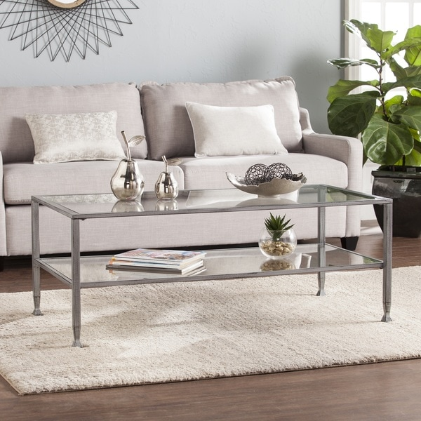 harper blvd jensen metal glass rectangular open shelf cocktail table silver free shipping. Black Bedroom Furniture Sets. Home Design Ideas
