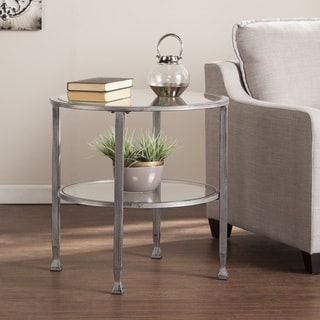 Clay Alder Home Liberty Metal/Glass Round End Table   Silver