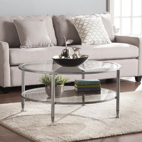 Silver Metal And Glass Coffee Table: Harper Blvd Jensen Metal/Glass Round Cocktail Table