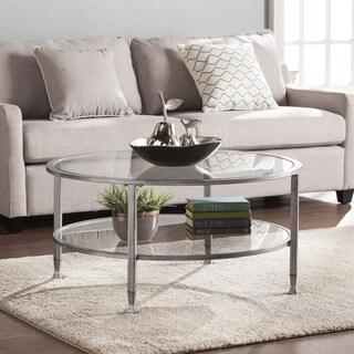 Porch & Den RiNo Brighton Silver Metal/Glass Round Cocktail Table