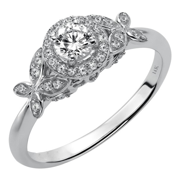 Cambridge 14k White Gold 1/3ct TDW Diamond Floral Engagement Ring