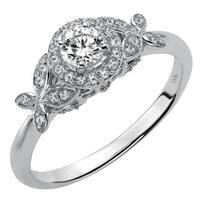 Cambridge 14k White Gold 1/3ct TDW Diamond Floral Engagement Ring