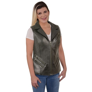 Milwaukee Leather Ladies Long Zipper Front Vest with Lapel Collar