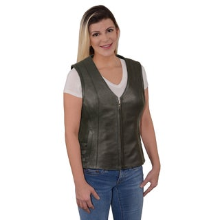 Ladies Zipper Front Side Buckle Vest with V-neck