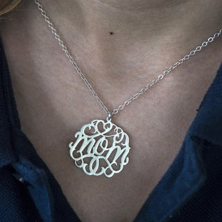 Sterling Silver 'Mom' Monogram Mother's Day Pendant (3 options available)
