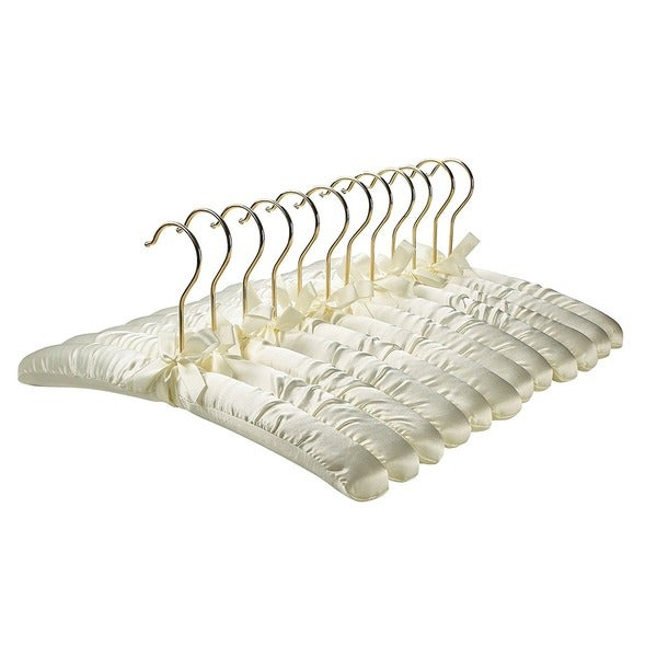 Premium Heavy Duty Thick Satin Padded Hangers Anti Slip - Ivory, Set of 12. Opens flyout.