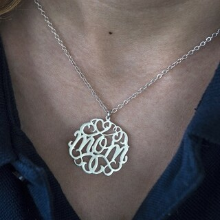 Twobirch 14k Gold 'Mom' Mother's Day Pendant Monogram