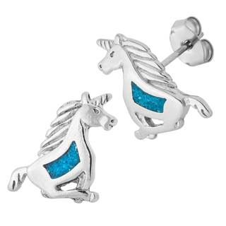Southwest Moon Silvertone Turquoise Inlay Unicorn Stud Earrings - Silver