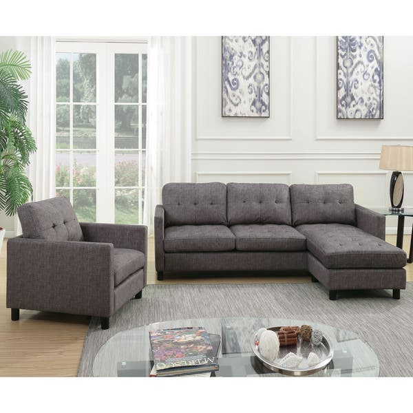 Acme Furniture Ceasar Sectional Sofa Revisable Ottoman Gray Fabric