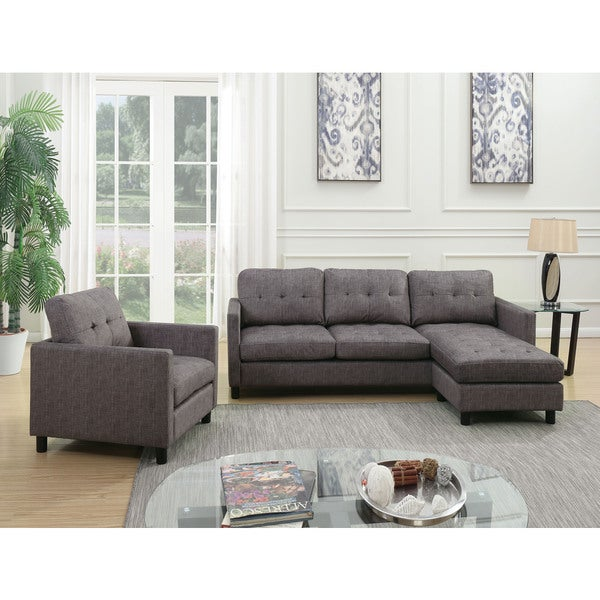 Acme Furniture Ceasar Sectional Sofa U0026amp; Revisable Ottoman, Gray Fabric