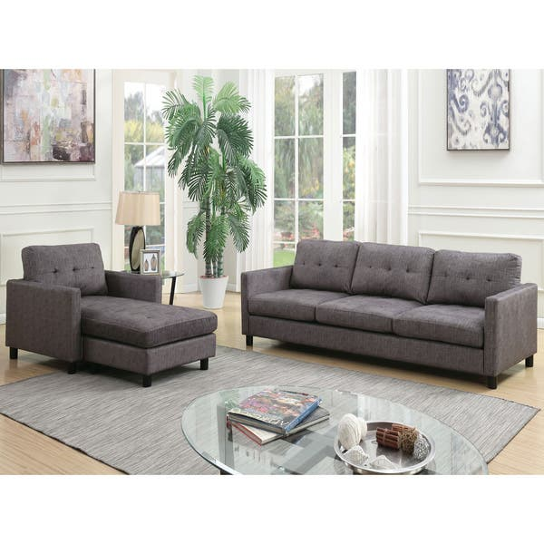 Acme Furniture Ceasar Sectional Sofa & Revisable Ottoman, Gray Fabric