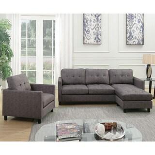 Acme Furniture Ceasar Sectional Sofa & Revisable Ottoman, Gray Fabric
