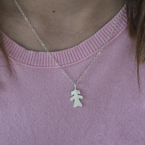 Sterling Silver Small Girl Mother's Day Pendant - Cute Little Girl Pendant
