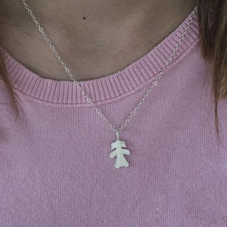 Sterling Silver Small Paper Girl  Mother's Day Pendant