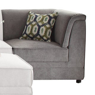Acme Furniture Bois Grey Velvet Corner Wedge with 1 Pillow