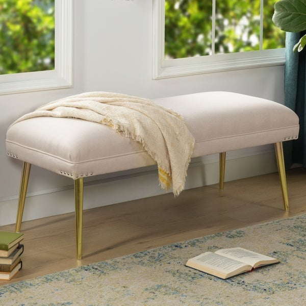 Pamela Entryway Bench with Gold Metal Legs by Jennifer Taylor Home. Opens flyout.