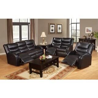 Wilsom Motion Black Bonded Leather 3-Piece Living Room Set