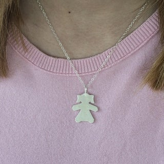Twobirch 14k Gold Paper Girl Mother's Day Pendant